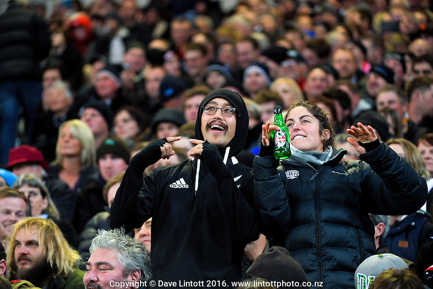 Fans in the grandstand during the Steinlager Series rugby union match between the New Zealand All Blacks and Wales at Forsyth Barr Stadium, Wellington, New Zealand on Saturday, 25 June 2016. Photo: Dave Lintott / lintottphoto.co.nz