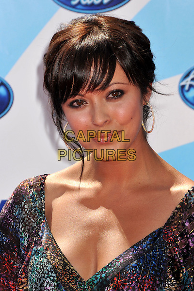 "MARISA RAMIREZ.""American Idol"" Season 8 Finale - Arrivals held at the Nokia Theatre LA Live, Los Angeles, CA, USA..May 20th, 2009.headshot portrait gold hoop earrings blue black red pattern .CAP/ADM/BP.©Byron Purvis/AdMedia/Capital Pictures."