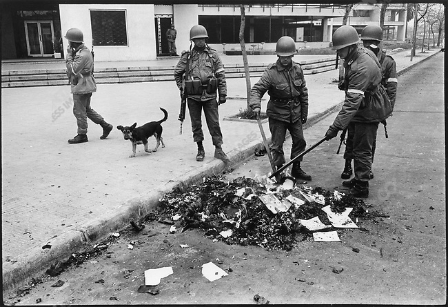 Soldiers burn books that are allegedly subversive during the days after the  military coup that took place on September 11, 1973. Santiago, Chile, September 1973.