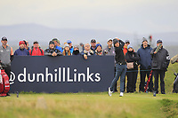 Joakim Lagergren (SWE) on the 15th tee during Round 4 of the Alfred Dunhill Links Championship 2019 at St. Andrews Golf CLub, Fife, Scotland. 29/09/2019.<br /> Picture Thos Caffrey / Golffile.ie<br /> <br /> All photo usage must carry mandatory copyright credit (© Golffile | Thos Caffrey)