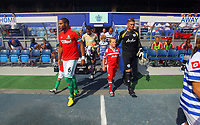 FAO SPORTS PICTURE DESK<br /> Pictured: Ashley Williams of Swansea (L) and Rob Greene of QPR come out of the tunnel for the first game of the season. Saturday 18 August 2012<br /> Re: Barclay's Premier League, Queens Park Rangers v Swansea City FC at Loftus Road Stadium, London, UK.