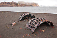 A ruined tractor was left after the British Base at Whalers Bay was abandoned in the late 1960's after 2 volcanic eruptions.  Whalers Bay is located on Deception Island, a volcanic island located in the South Shetland Islands near Antarctica.
