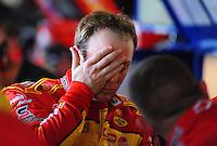 May 1, 2009; Richmond, VA, USA; NASCAR Sprint Cup Series driver Kevin Harvick reacts during practice for the Russ Friedman 400 at the Richmond International Raceway. Mandatory Credit: Mark J. Rebilas-