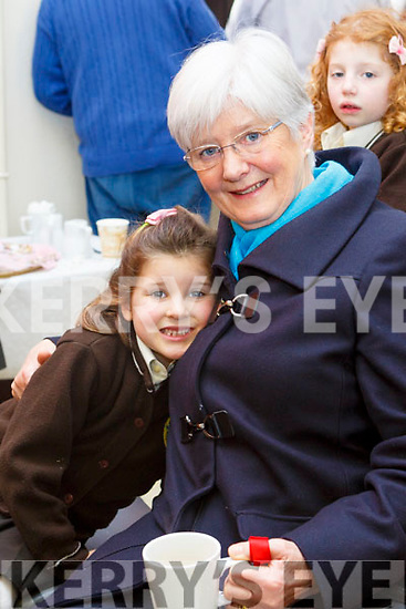Attending the Grandparents day in Gaelscoil Mhic Easminn on Thursday morning last. L to r: Phil Gibbons with her granddaughter Anna Ni Chonchuir.