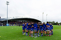 The Bath Rugby team huddle together during the pre-match warm-up. Pre-season friendly match, between Edinburgh Rugby and Bath Rugby on August 17, 2018 at Meggetland Sports Complex in Edinburgh, Scotland. Photo by: Patrick Khachfe / Onside Images