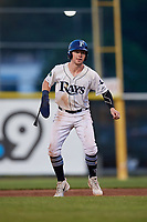 Princeton Rays center fielder Grant Witherspoon (5) leads off first base during the second game of a doubleheader against the Johnson City Cardinals on August 17, 2018 at Hunnicutt Field in Princeton, Virginia.  Princeton defeated Johnson City 12-1.  (Mike Janes/Four Seam Images)