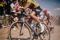yellow jersey / GC leader Greg Van Avermaet (BEL/BMC)on pav&eacute; sector #2<br /> <br /> Stage 9: Arras Citadelle &gt; Roubaix (154km)<br /> <br /> 105th Tour de France 2018<br /> &copy;kramon