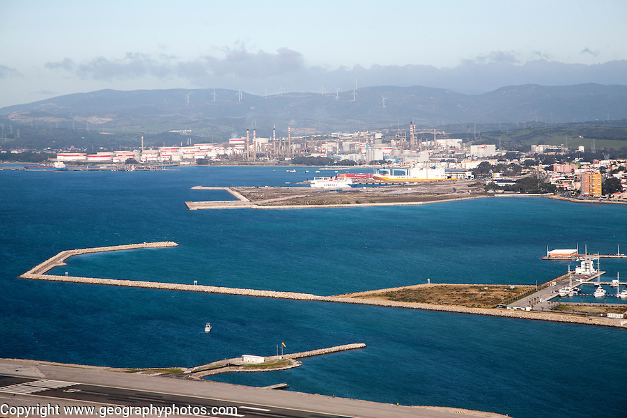 View towards large oil refinery in La Linea, Spain from Gibraltar, British overseas territory in southern Europe