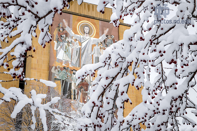 Mar. 12, 2014; Word of Life Mural after a snowfall, winter 2014.<br /> <br /> Photo by Matt Cashore/University of Notre Dame