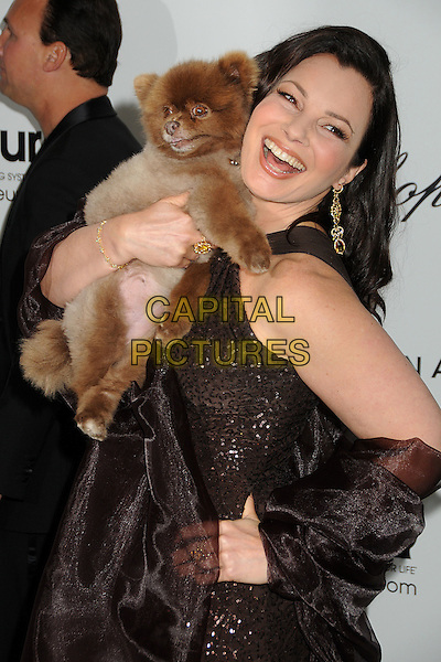 Fran Drescher.20th Annual Elton John Academy Awards Viewing Party held at West Hollywood Park, West Hollywood, California, USA..February 26th, 2012.oscars half length brown dress carrying holding dog animal pet sequins smiling hand on hip sequined .CAP/ADM/BP.©Byron Purvis/AdMedia/Capital Pictures.