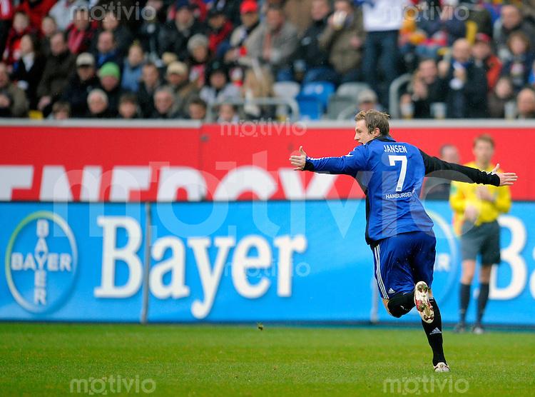Fussball  1. Bundesliga  Saison 2008/2009    21. Spieltag     Bayer Leverkusen - Hamburger SV   22.02.2009   Marcell JANSEN (Hamburg) jubelt nach seinem Tor zum 1-0.