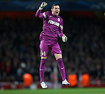 Monaco's Danijel Subasic celebrates his sides opening goal<br /> <br /> Champions League - Arsenal  vs AS Monaco  - Emirates Stadium - England - 25th February 2015 - Picture David Klein/Sportimage