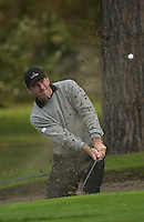Photo Peter Spurrier.17/10/2002 Thur.CISCO World Matchplay Championships - Wentworth.Nick Faldo play a bunker shot at the 12th...[Mandatory Credit Peter Spurrier/ Intersport Images]