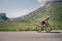Thomas de Gendt (BEL/Lotto-Soudal) up the Comet de Roselend<br /> <br /> Stage 11: Albertville > La Rosière / Espace San Bernardo (108km)<br /> <br /> 105th Tour de France 2018<br /> ©kramon