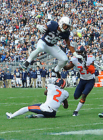 31 October 2015:  Penn State RB Saquon Barkley (26) hurdles Illinois CB V'Angelo Bentley (2) during a 7 yard touchdown run. The Penn State Nittany Lions defeated the Illinois Fighting Illini 39-0 at Beaver Stadium in State College, PA. (Photo by Randy Litzinger/Icon Sportswire)
