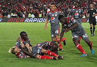 BOGOTA - COLOMBIA - 26 - 01 - 2018: Dario Bottinelli, jugador del América de Cali, celebra el gol anotado al Independiente Santa Fe  , durante partido entre Independiente Santa Fe y el América de Cali , por el Torneo Fox Sports 2018, jugado en el estadio Nemesio Camacho El Campin de la ciudad de Bogota.   / Dario Bottinelli, player of America of Cali , celebrates a goal scoring to Independiente Santa Fe , during a match between Independiente Santa Fe and America of Cali , for the Fox Sports Tournament 2018, played at the Nemesio Camacho El Campin stadium in the city of Bogota. Photo: VizzorImage / Felipe Caicedo / Staff.