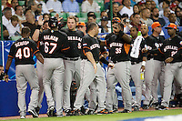 9 March 2009: #67 Gregory Halman of The Netherlands celebrates scoring a run against Puerto Rico in the first inning during the 2009 World Baseball Classic Pool D game 4 at Hiram Bithorn Stadium in San Juan, Puerto Rico. Puerto Rico wins 3-1 over Netherlands