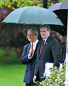Washington, D.C. - April 21, 2008 -- White House Chief of Staff Josh Bolten, left and National Security Advisor Stephen Hadley, right, follow United States President George W. Bush (not pictured) as he departs from the South Lawn of the White House aboard Marine 1 for meetings in New Orleans, Louisiana with President Felipe de Jesus Calderon Hinojosa of Mexico and Prime Minister Stephen Harper of Canada.<br /> Credit: Ron Sachs / Pool via CNP
