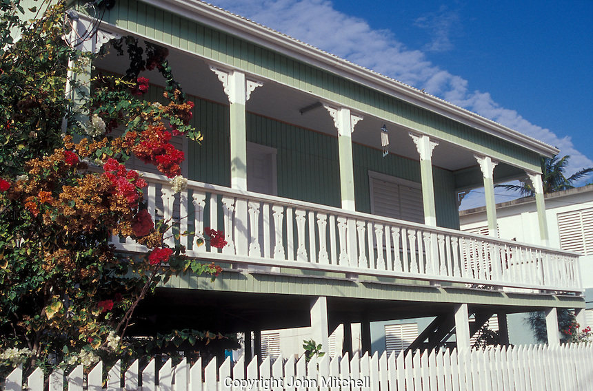 Veranda of a typical Caribbean style wooden house on Caye Caulker, Belize