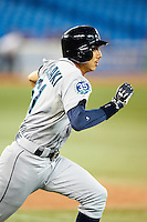 Seattle Mariners second baseman Munenori Kawasaki #61 during an American League game against the Toronto Blue Jays at the Rogers Centre on September 13, 2012 in Toronto, Ontario.  Toronto defeated Seattle 8-3.  (Mike Janes/Four Seam Images)