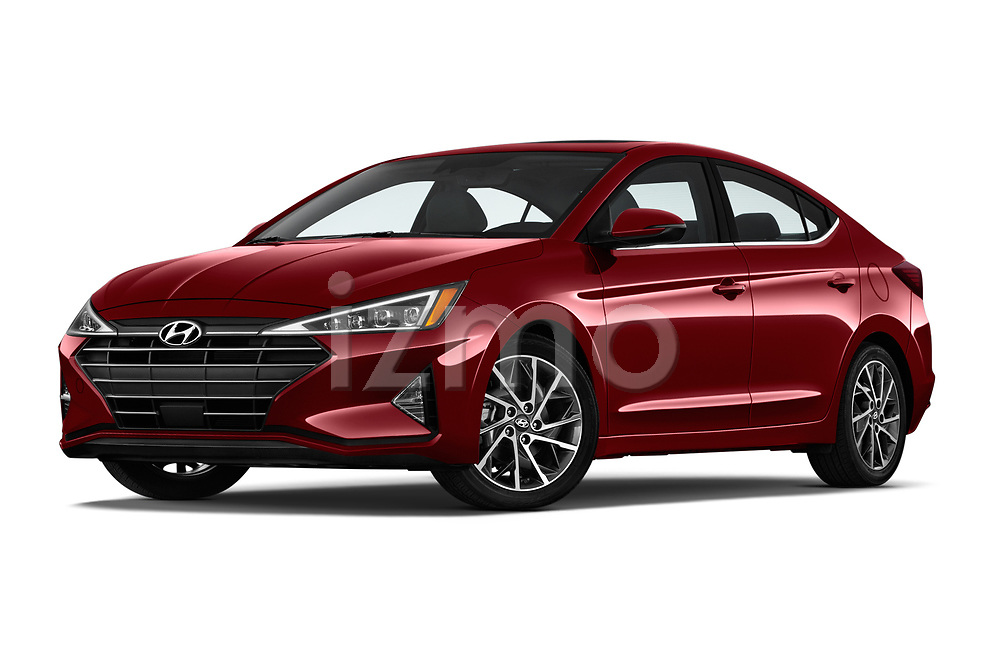Stock pictures of low aggressive front three quarter view of 2019 Hyundai Elantra Limited 4 Door Sedan Low Aggressive