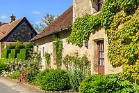France, Cher (18), Apremont-sur-Allier, labellisé Plus Beaux Villages de France, rue fleurie du village avec une haie d'ifs taillée, massifs d'arbustes et plantes vivaces