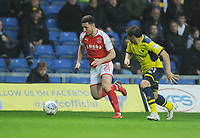 Fleetwood Town's Lewie Coyle under pressure from Oxford United's Ricardinho<br /> <br /> Photographer Kevin Barnes/CameraSport<br /> <br /> The EFL Sky Bet League One - Oxford United v Fleetwood Town - Tuesday 10th April 2018 - Kassam Stadium - Oxford<br /> <br /> World Copyright &copy; 2018 CameraSport. All rights reserved. 43 Linden Ave. Countesthorpe. Leicester. England. LE8 5PG - Tel: +44 (0) 116 277 4147 - admin@camerasport.com - www.camerasport.com