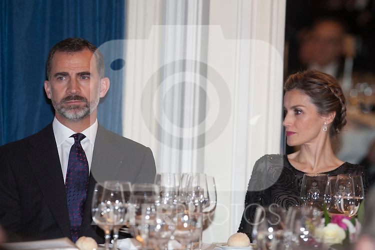King Felipe VI of Spain and Queen Letizia of Spain attend the XXXI Francisco Cerecedo journalism awards ar Ritz hotel in Madrid, Spain. November 05, 2014. (ALTERPHOTOS/Victor Blanco)