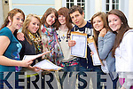 Junior Cert student from Gaelcholaiste Chiarrai, Tralee after receiving their results on Wednesday from left Nicole Farrelly, Niamh Prendeville, Katie O'Connell, Anne McCarthy, Johnny Deane, Gene Faffell and Mary Rose Breen.