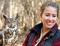 Gaia, a Great Horned Owl, being introduced by Michelle Gorayeb, a volunteer Wildlife Educator at the Center for Wildlife in Cape Neddick, ME.
