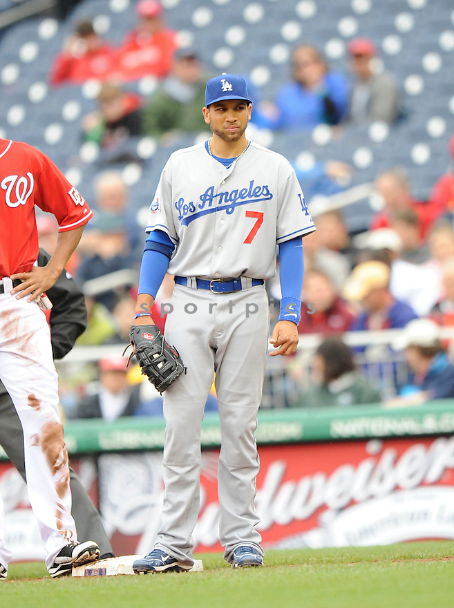 JAMES LONEY, of the Los Angeles Dodgers, in action during the Dodgers game against the Washington Nations  at Nationals Park in Washington D.C.on April 25, 2010.   The Dodgers win the game 1-0....