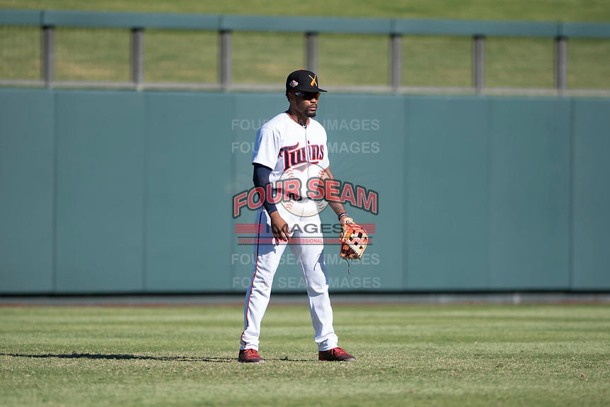 Salt River Rafters left fielder Jaylin Davis (30), of the Minnesota Twins organization, during an Arizona Fall League game against the Glendale Desert Dogs at Salt River Fields at Talking Stick on October 31, 2018 in Scottsdale, Arizona. Glendale defeated Salt River 12-6 in extra innings. (Zachary Lucy/Four Seam Images)