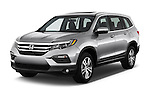 2016 Honda Pilot EX-L 5 Door Suv Angular Front stock photos of front three quarter view