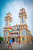 VIETNAM, Cao Dai Temple in the City of Tay Ninh, Southern Vietnam, Woman and Girl in front of the Temple