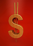 Oriental Dollar symbol isolated over red background representing the concept of trade in Asia