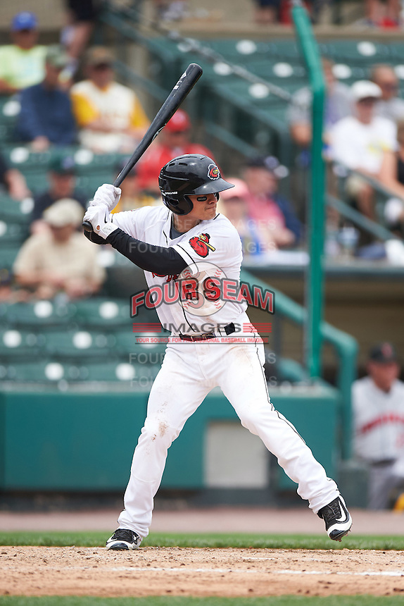 Rochester Red Wings shortstop Tommy Field (59) at bat during a game against the Indianapolis Indians on May 26, 2016 at Frontier Field in Rochester, New York.  Indianapolis defeated Rochester 5-2.  (Mike Janes/Four Seam Images)