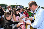 Tour Director Christian Prudhomme ASO signs autographs for young fans at sign before the start of Stage 8 of the 2018 Tour de France running 181km from Dreux to Amiens Metropole, France. 14th July 2018. <br /> Picture: ASO/Alex Broadway | Cyclefile<br /> All photos usage must carry mandatory copyright credit (&copy; Cyclefile | ASO/Alex Broadway)