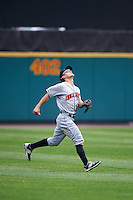 Indianapolis Indians left fielder Adam Frazier (6) during a game against the Rochester Red Wings on May 26, 2016 at Frontier Field in Rochester, New York.  Indianapolis defeated Rochester 5-2.  (Mike Janes/Four Seam Images)