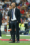 Real Madrid's coach Zinedine Zidane during the XXXVII Bernabeu trophy between Real Madrid and Stade de Reims at the Santiago Bernabeu Stadium. August 15, 2016. (ALTERPHOTOS/Rodrigo Jimenez)