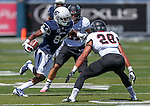 Nevada's Jerico Richardson (84) runs against Southern Utah defenders Kyle Hanneman (22), rear, and Miles Killebrew (28) during the first half of an NCAA college football game on Saturday, Aug. 30, 2014 in Reno, Nev. (AP Photo/Cathleen Allison)