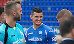St Johnstone FC Photocall, 2015-16 Season....03.08.15<br /> Striker Graham Cummins having a laugh with Brian Easton at today's photocall<br /> Picture by Graeme Hart.<br /> Copyright Perthshire Picture Agency<br /> Tel: 01738 623350  Mobile: 07990 594431