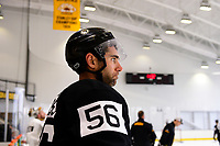 September 15, 2017: Boston Bruins left defenseman Tommy Cross (56) rests during the Boston Bruins training camp held at Warrior Ice Arena in Brighton, Massachusetts. Eric Canha/CSM