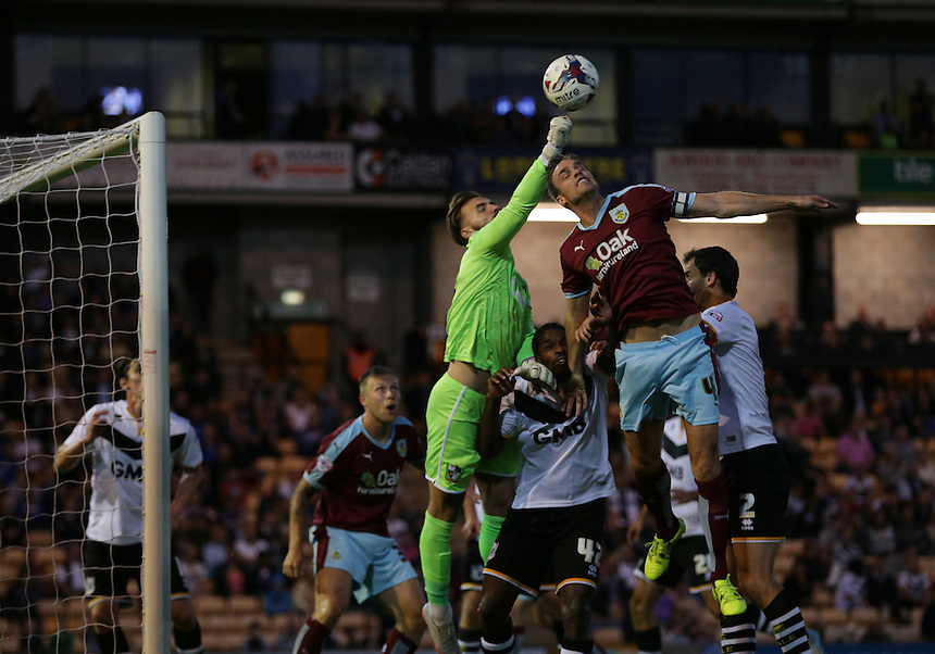Port Vale's goalkeeper Jak Alnwick punches clear from Burnley's Michael Duff<br /> <br /> Photographer Stephen White/CameraSport<br /> <br /> Football - Capital One Cup First Round - Port Vale v Burnley - Tuesday 11th August 2015 - Vale Park - Burslem<br /> <br /> Football - UEFA Europa League Qualifying Third Round First Leg - West Ham United v Astra Giurgiu - Thursday 30 July 2015 - Boleyn Ground - London<br /> <br /> &copy; CameraSport - 43 Linden Ave. Countesthorpe. Leicester. England. LE8 5PG - Tel: +44 (0) 116 277 4147 - admin@camerasport.com - www.camerasport.com<br />  <br /> &copy; CameraSport - 43 Linden Ave. Countesthorpe. Leicester. England. LE8 5PG - Tel: +44 (0) 116 277 4147 - admin@camerasport.com - www.camerasport.com