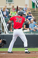 Danny Hayes (32) of the Kannapolis Intimidators at bat against the West Virginia Power at CMC-Northeast Stadium on April 30, 2014 in Kannapolis, North Carolina.  The Intimidators defeated the Power 2-1 in game one of a double-header.  (Brian Westerholt/Four Seam Images)