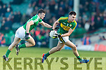 Jack Barry Kerry in action against Paul White Limerick in the Final of the McGrath Cup at the Gaelic Grounds on Sunday.