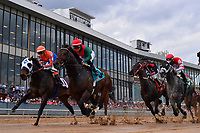 HOT SPRINGS, AR - FEBRUARY 19:Race number eight. Rocking The Boat with jockey Fernando De La Cruz just before finish line in the Razorback Handicap  at Oaklawn Park on February 19, 2018 in Hot Springs, Arkansas. (Photo by Ted McClenning/Eclipse Sportswire/Getty Images)