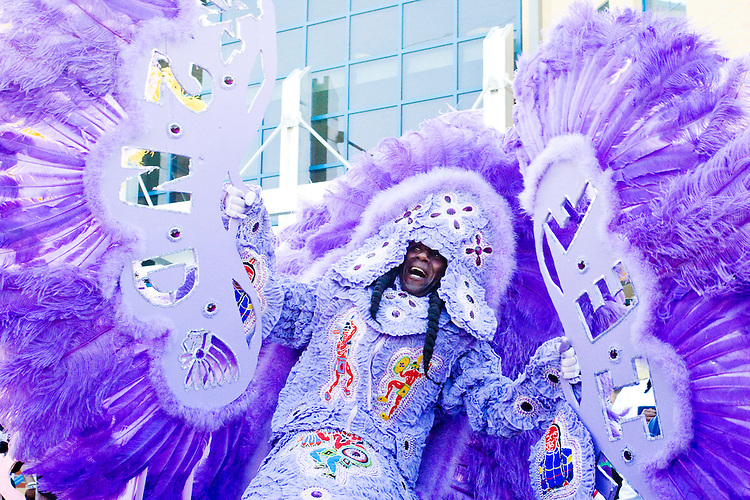 Irvin Scott, 2nd Chief of the Golden Comanches Mardi Gras Indians, proudly displays his suit in New Orleans on February 28, 2006.