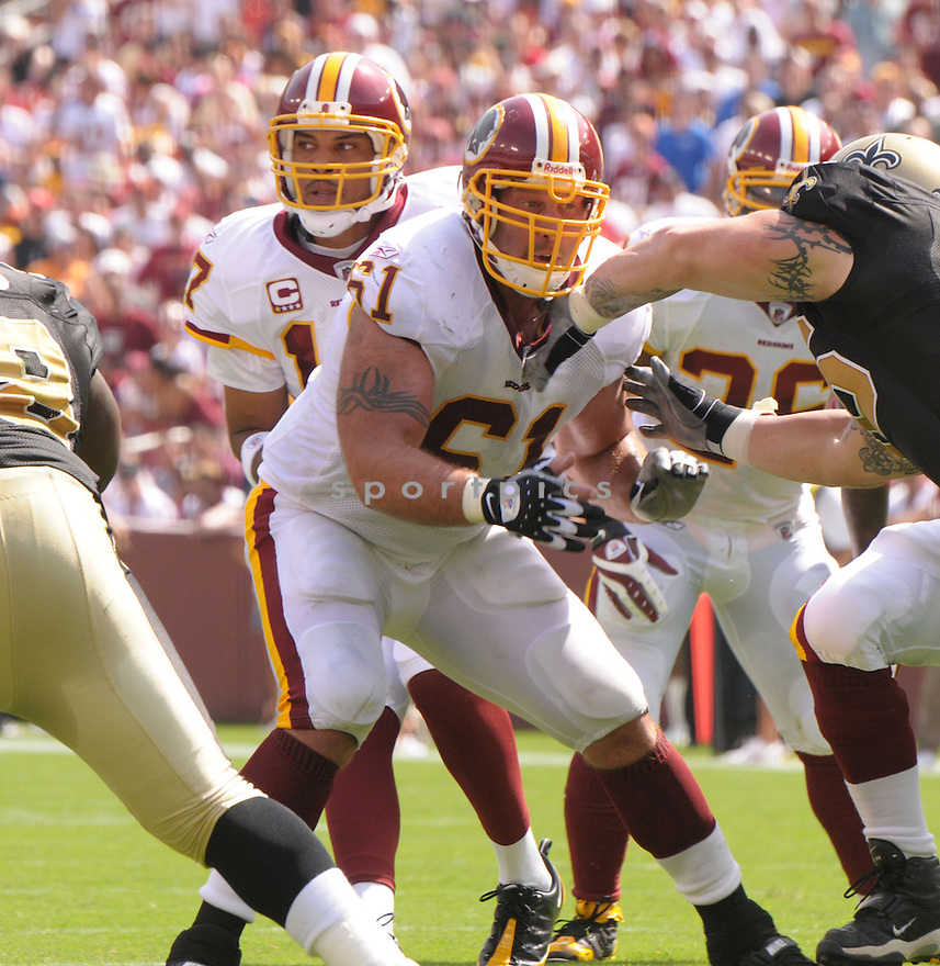CASEY RABACH, of the Washington Redskins, in action during the Redskins game against the New Orleans Saints on September 14, 2008 in Washington DC...Redskins win 29-24..SportPics