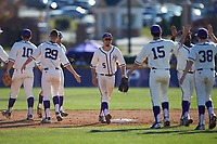 Austen Zente (5) of the High Point Panthers celebrates with teammates following their victory over the NJIT Highlanders at Williard Stadium on February 19, 2017 in High Point, North Carolina. The Panthers defeated the Highlanders 6-5. (Brian Westerholt/Four Seam Images)