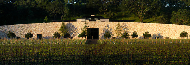 Front of Quintessa winery.  Winery is built into hillside.